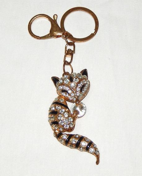 Chaveiro Raposa Metal Dourado Com Pedras Brilhantes
