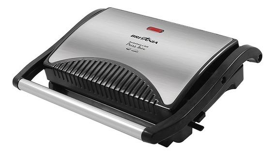 Sanduicheira E Grill Britânia Press Inox Placa Duo 127v