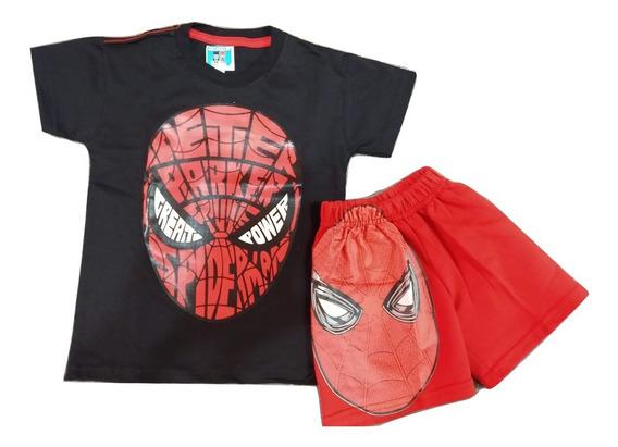 Conjunto Remera Mas Short Spiderman Hombre Araña