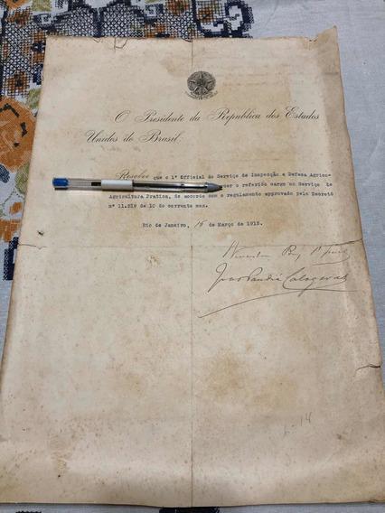 Rara Documento Presidencial Com Assinatura Do Venceslau Brás