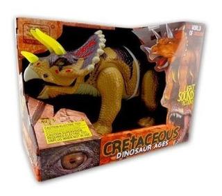 Dinosaurio Triceratops A Batería Con Luz Y Sonido Mide 30cm