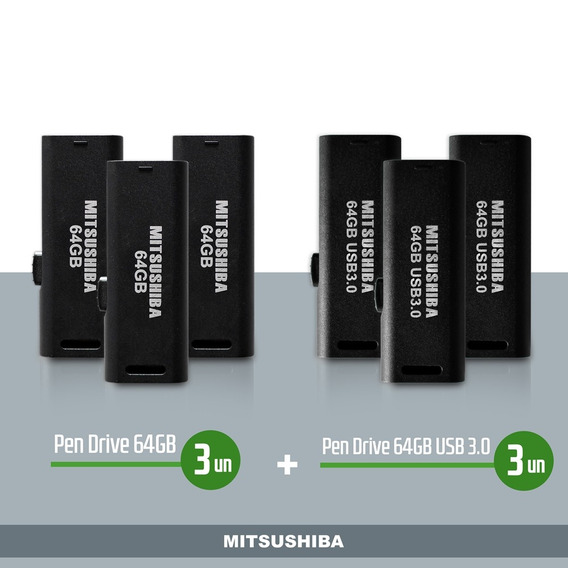 Kit Pen Drive 64gb 3pcs + 64gb(usb 3.0) 3pcs Mitsushiba