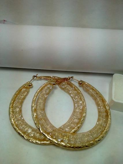 Arracadas Maya Con Cristales Grande 6 Cm Oro Laminado