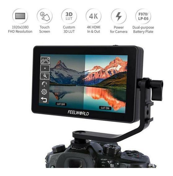 Monitor Feelworld F6 Plus 5.5 4k Touch Screen+bateria+carreg