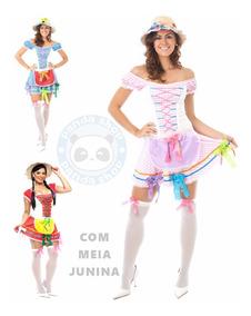 Vestido Junino Roupa Caipira Adulto Feminino Com Meia Junina