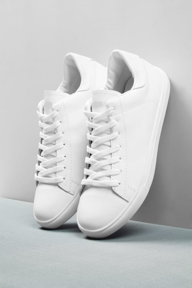 Zapatillas Blancas / Negras Hombre De Cuero Bourbon Urbanas