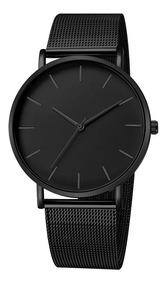 Relógio Masculino Ultra Fino Preto Homens De Negócio Luxo