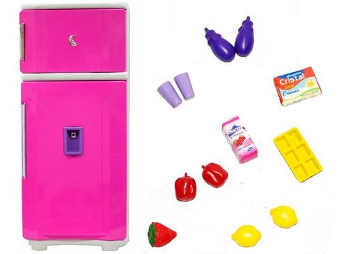 Geladeira Cozinha Brinquedo Infantil Grande Rosa 65 Cm