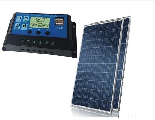 Imagem 1 de 3 de Kit 2x Painel Placa 1 Controlador Solar Fotovoltaica 150w