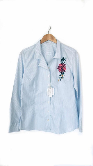 Camisa Dudalina Com Bordado - Nunca Usada