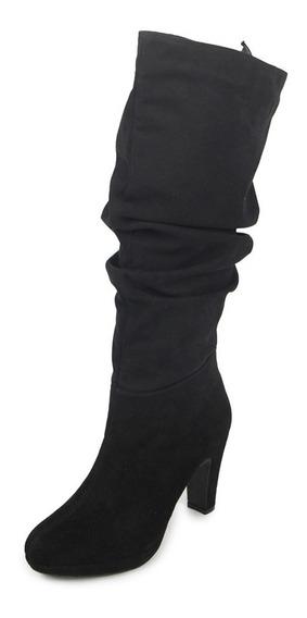 Botas Dama Mujer Altas Tipo Gamuza Negro Casuales Cómodas