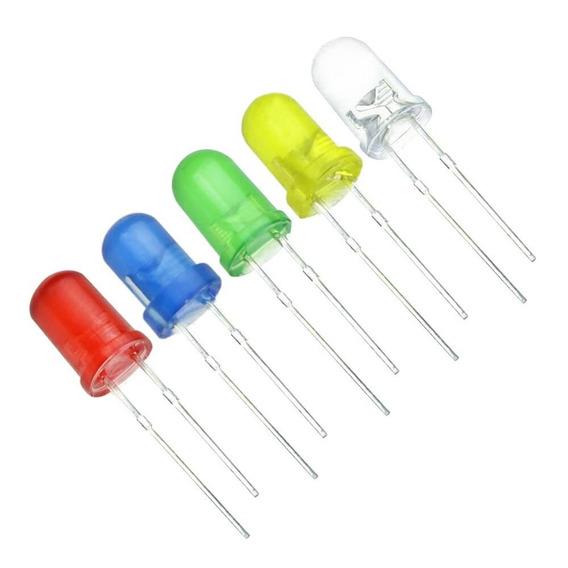 10 Leds 5mm Difusos Várias Cores Eletrônica E Arduino