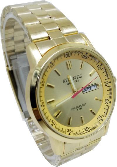 Relógio Atlantis Masculino Dourado Calendário