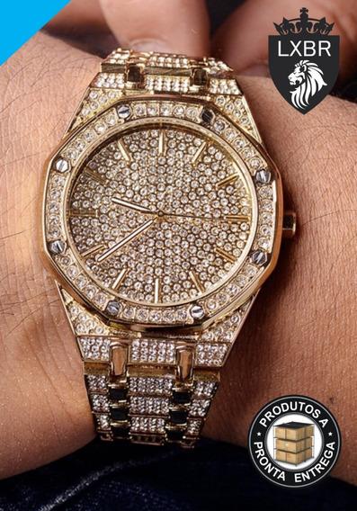Relogio Lançamento 41mm Dourado Cravejado Zirconia Ouro 18k Luxo Hip Hop Ice Out Ostentação Mc Funk Lxbr C44