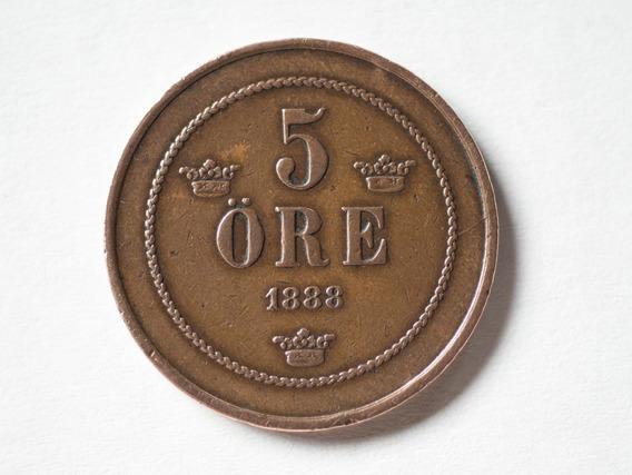 Moneda Antigua 5 Ore - Suecia 1888