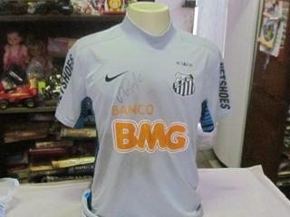 Camisa Oficial Do Santos F.c De Jogo Autografada Pelo Aranha