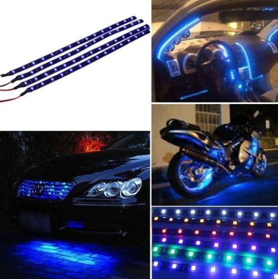 Tiras Led Par Carro Moto Barra 30cm Luz Azul