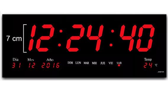 Reloj De Pared Digital Led Rojo 46 X 22 Cm Termometro