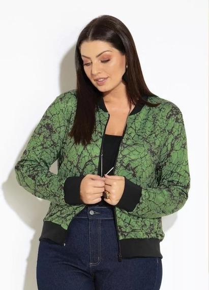 Jaqueta Plus Size Bomber Marmorizado Verde