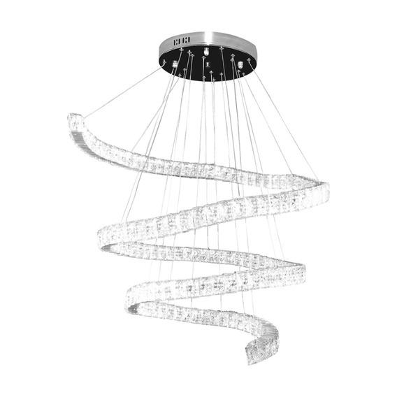 Lustre Led Espiral Cristal K9 Inox Luz 3000 A 6500k Controle
