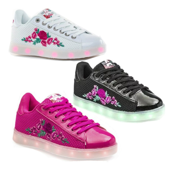 Zapatillas Addnice Luces Led Rosas 26 Al 37 Promo Mm Roled