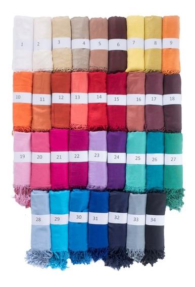 Pashmina Chalina Bufanda Lisa Con Flecos 40 Colores A Elección (precio Por Mayor)