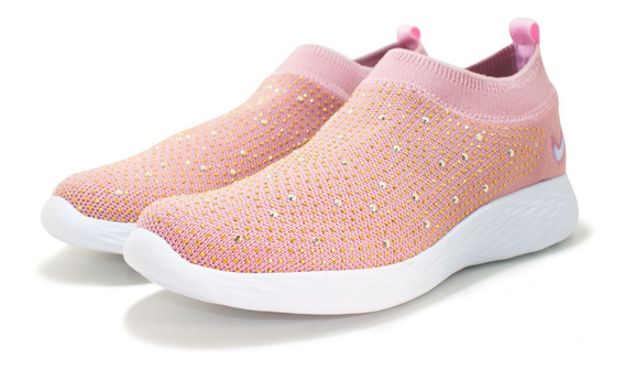 Tênis Feminino Meia Sem Cadarço Casual Confortável Glitter