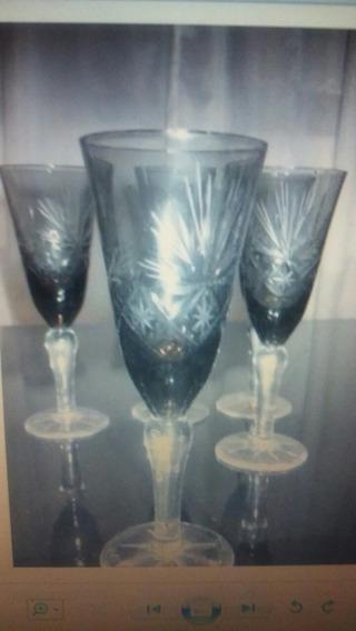 4 Copas De Vino Cristal San Carlos Talladas