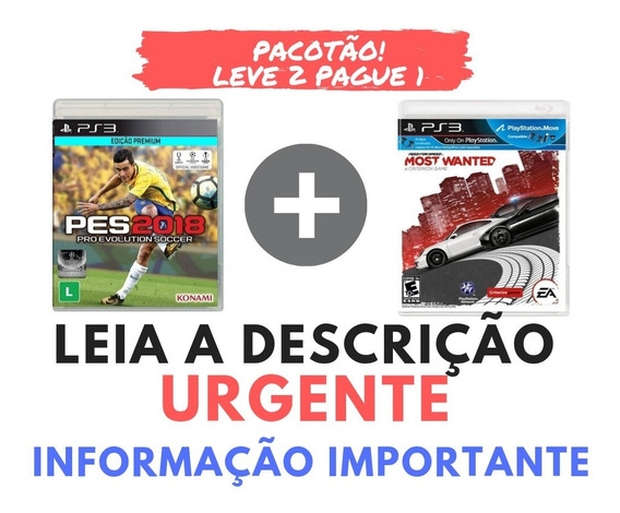 Promoção Pacote Pes 2018 Ps3 Completo + Need For Speed + Leve 2 Pague 1 Leia A Descricao