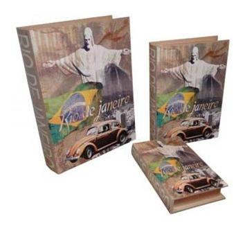Livro Book Box Conjunto 3 Peças Rio De Janeiro Goods Br 35x