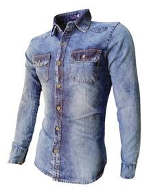 Camisa Masculina Manga Longa Jeans Manchada Promoção