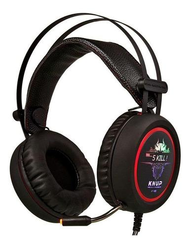 Fone de ouvido gamer Knup KP-401 preto e vermelho com luz LED