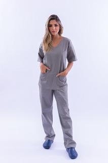 Pijama Cirúrgico Unissex Brim Leve Cinza Conjunto