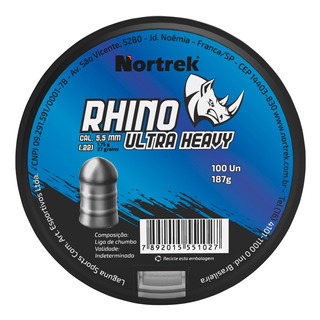 Chumbinho Nortrek Rhino 5,5 Mm C/100 Un Pesado Jumbo Pcp