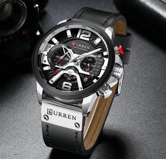 Relógio Curren Masculino Funcional Original Em Couro