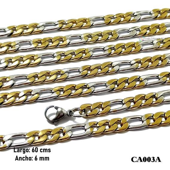 Cadena Caballero Tejido 3x1 60cms 6mm Acero Inox Bicolor