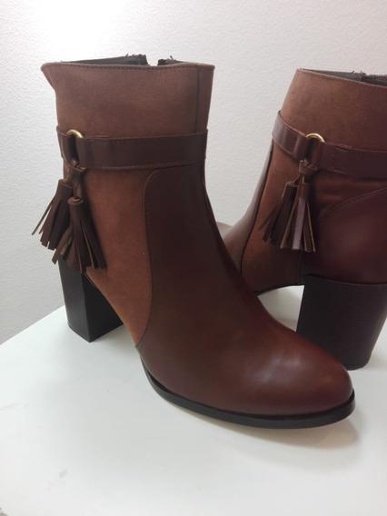 Botines Botas Para Dama Con Tacón Chocolate