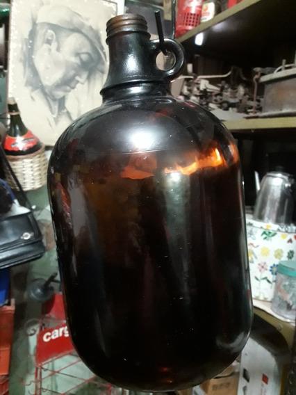 Antiguo Botellon De Laboratorio Con Manija Color Caramelo