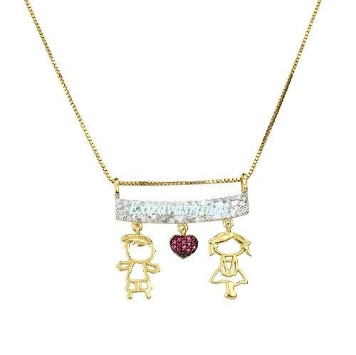 Lindo Colar Casal De Ouro Diamantes E Rubis