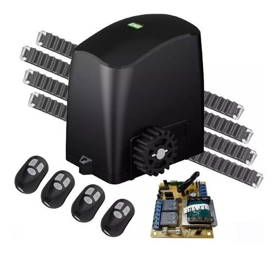 Kit Motor Deslizante 1/4 Rcg 3,6m Cremalheiras 4 Controles