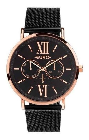 Relógio Euro Feminino Preto/rosê Euvd75af/4p
