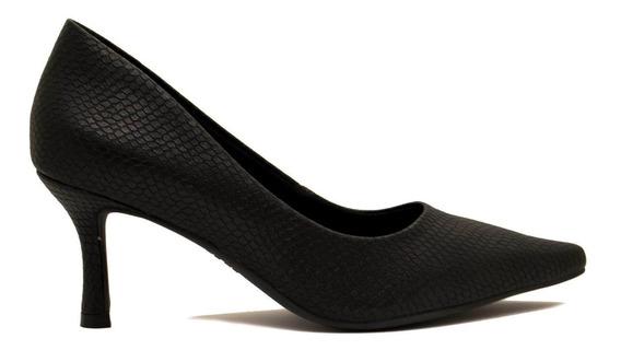 Zapatos Stilletos Mujer Cuero Ecológico Negro Tipo Pitón