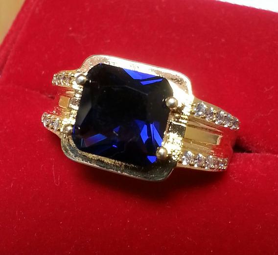 Anel Safira Azul Ouro 18 K Folheado