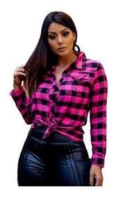Camisa Feminina Manga Longa Flanela Xadrez Ref 055