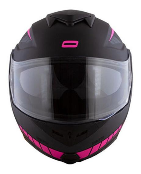 Capacete para moto escamoteável Norisk Route Motion matt black, pink tamanho 54
