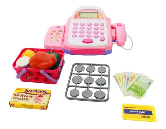 Caixa Registradora Mercadinho Infantil Com Som E Luz Rosa