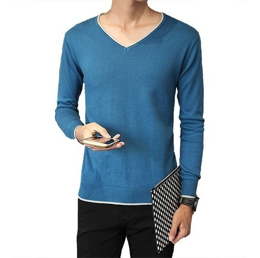 Com 2 Blusa Suéter Masculino Decote V