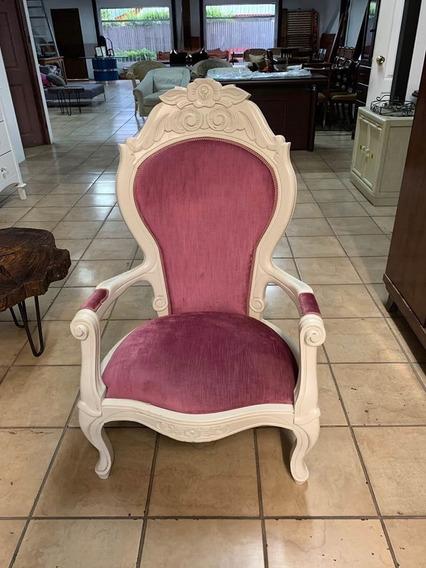 Sillon Sofa Butaca Vintage En Madera Tallada , Importada