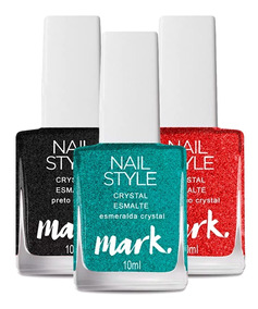 3 Esmaltes Avon Mark Nail Style Crystal Esm. Ver. Preto 10ml