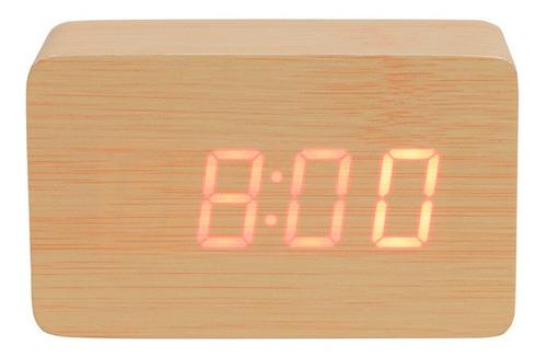 Imagem 1 de 6 de Relógio De Mesa Tipo Madeira Digital Pequeno